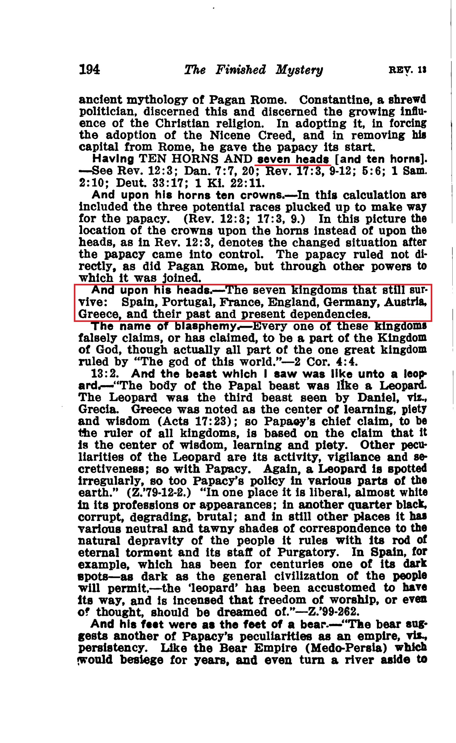 What do the seven heads symbolize revelation 131 jehovahs source 1917 buycottarizona